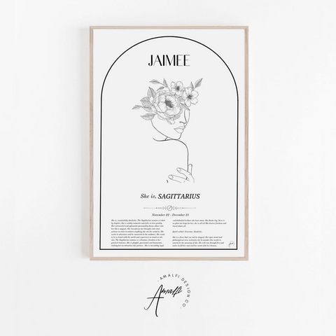 SCORPIO - ZODIAC FEMME PERSONALISED WALL PRINT- DIGITAL