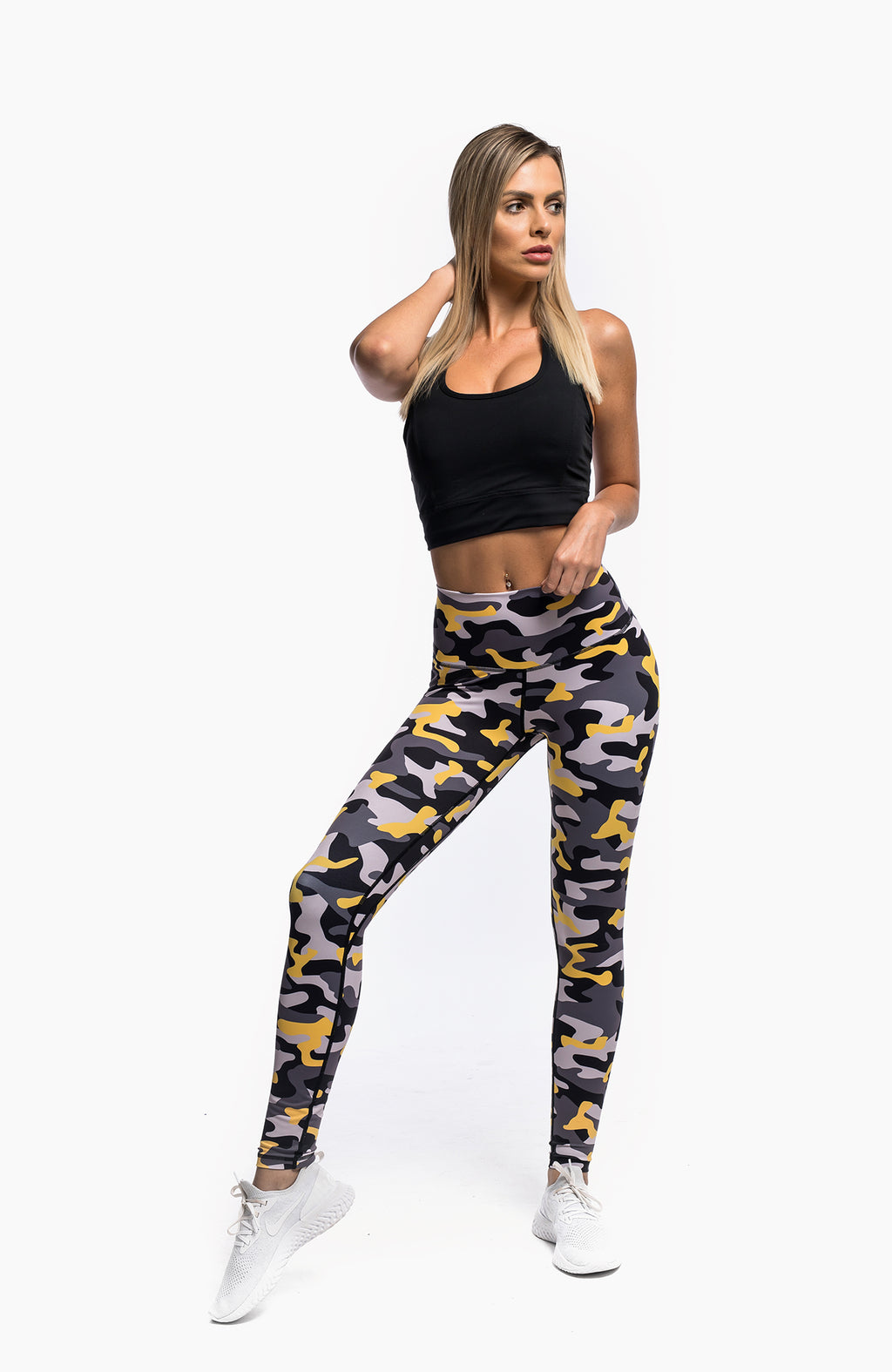 PURSUE LEGGINGS - CAMO YELLOW - hustletics.com
