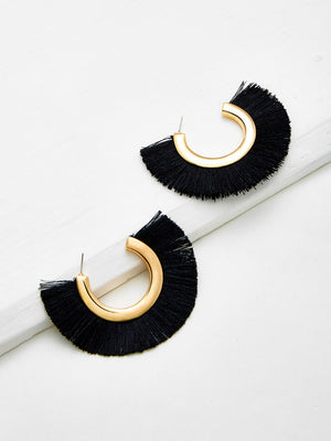 Fringe Earrings - Black