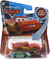 Disney / Pixar CARS Movie 1:55 Die Cast Dirt Track Lightning McQueen #3 w/ Lenticular Eyes!