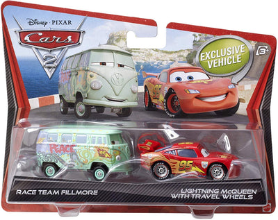 Disney Pixar Cars 2 Movie Race Team Fillmore and Lightning McQueen with Travel Wheels