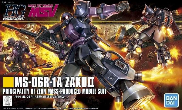 Gundam 1/144 HGUC #151 MSV MS-06R-1A Zaku II (Black Tri Stars) Model Kit 1