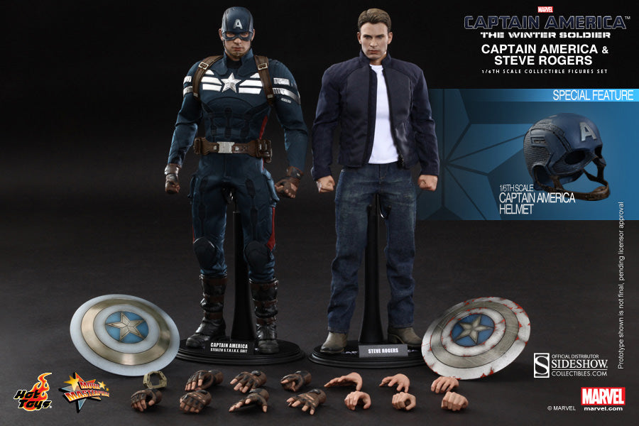 Hot Toys 1/6 Captain America and Steve Rogers Sixth Scale Winter Soldier Figure Set MMS243