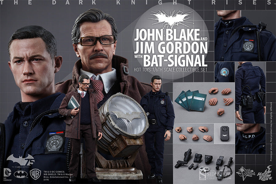 Hot Toys The Dark Knight Rises John Blake (Robin) and Jim Gordon with Bat-Signal 1/6 Scale Action Figure MMS275