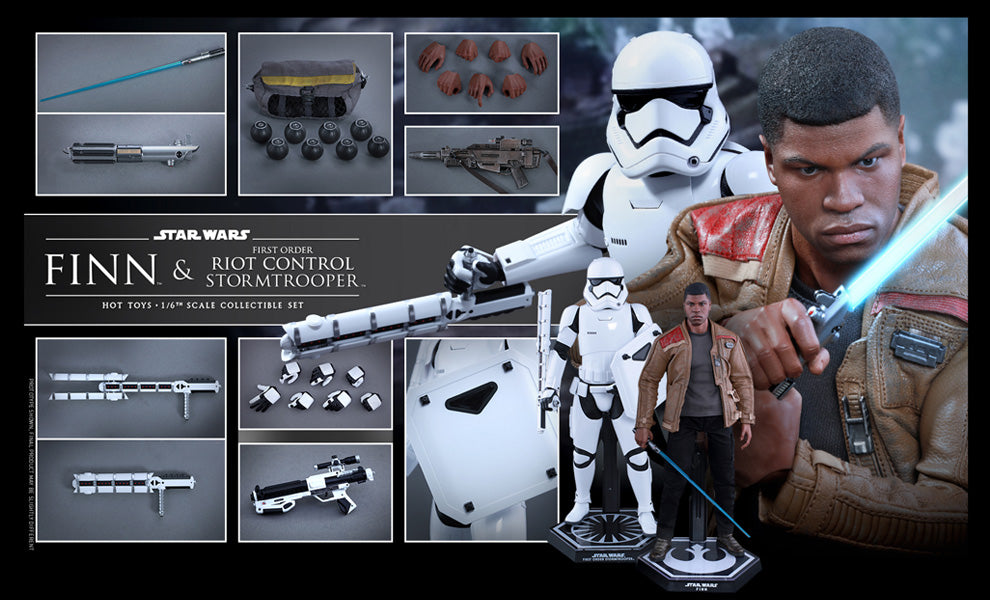 Hot Toys 1/6 Star Wars Episode VII The Force Awakens Finn and Riot Control Stormtrooper Sixth Scale MMS346
