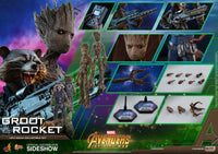 Hot Toys 1/6 Avenger Infinity War Groot & Rocket Set Sixth Scale MMS476