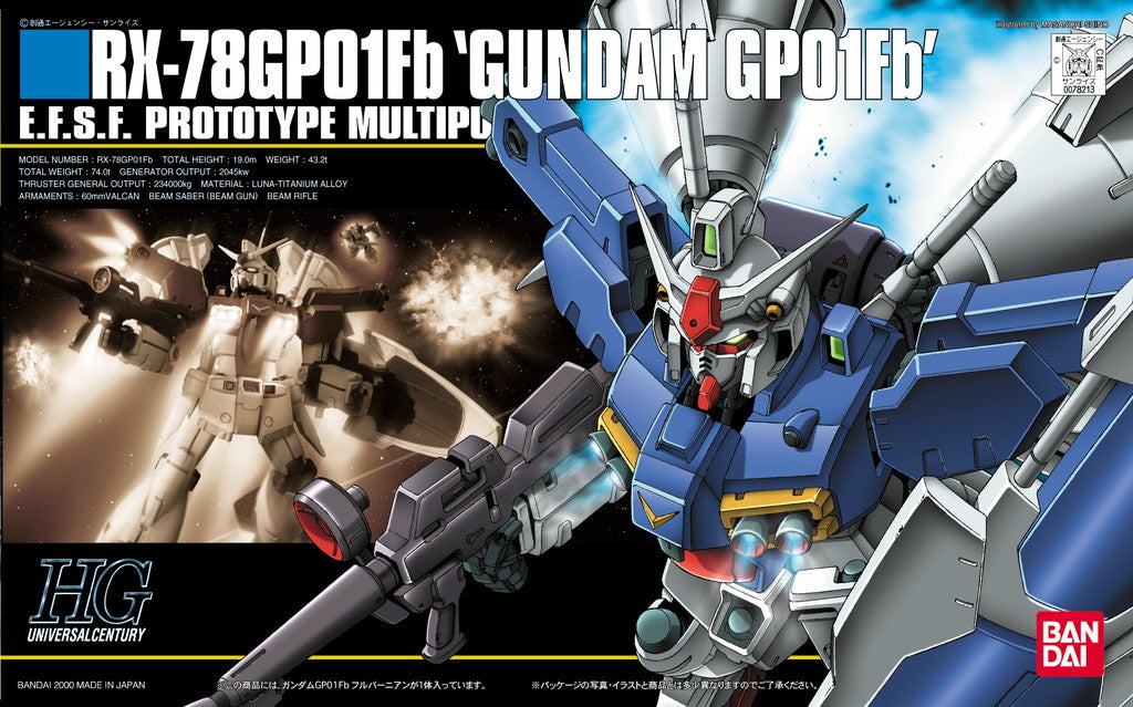 "Gundam 1/144 HGUC #018 Stardust Memory Gundam GP01FB Full Burnern""Zephyranthes Full Vernian"" 0083 Model Kit"