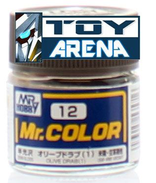 Mr. Hobby Mr. Color C12 Semi-Gloss Olive Drab 10ml Bottle