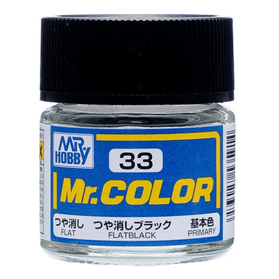 Mr. Hobby Mr. Color C33 Flate Black 10ml Bottle