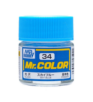 Mr. Hobby Mr. Color C34 Gloss Sky Blue 10ml Bottle