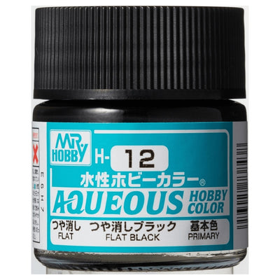 Mr. Hobby Aqueous Hobby Color H12 Flat Black 10ml Bottle