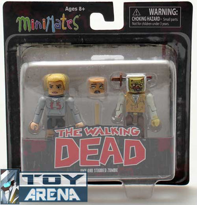 Minimates The Walking Dead Amy and Stabbed Zombie 2 Pack Action Figure Rare