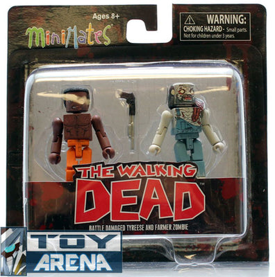 Minimates The Walking Dead Battle Damage Tyreese and Farmer Zombie 2 Pack Series 3 Rare Action Figure
