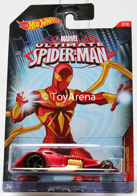 Hot Wheels Marvel Ultimate Spider-Man 2015 Hammered Coupe 1/64 Rare Die-Cast