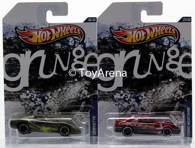 Hot Wheels Jukebox Grunge '97 Chevy Corvette & '92 Ford Mustang Wal-Mart Exclusive