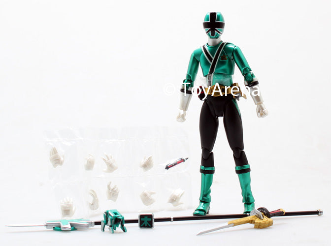 LOOSE Green from S.H. Figuarts Power Rangers Super Samurai Metallic Coating Deluxe Action Figure Set SDCC 2013