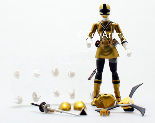 LOOSE Yellow from S.H. Figuarts Power Rangers Super Samurai Metallic Coating Deluxe Action Figure Set SDCC 2013