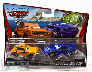 Disney Pixar Cars 2 Movie Grem and Damaged Rod Torque Redline 2-Pack