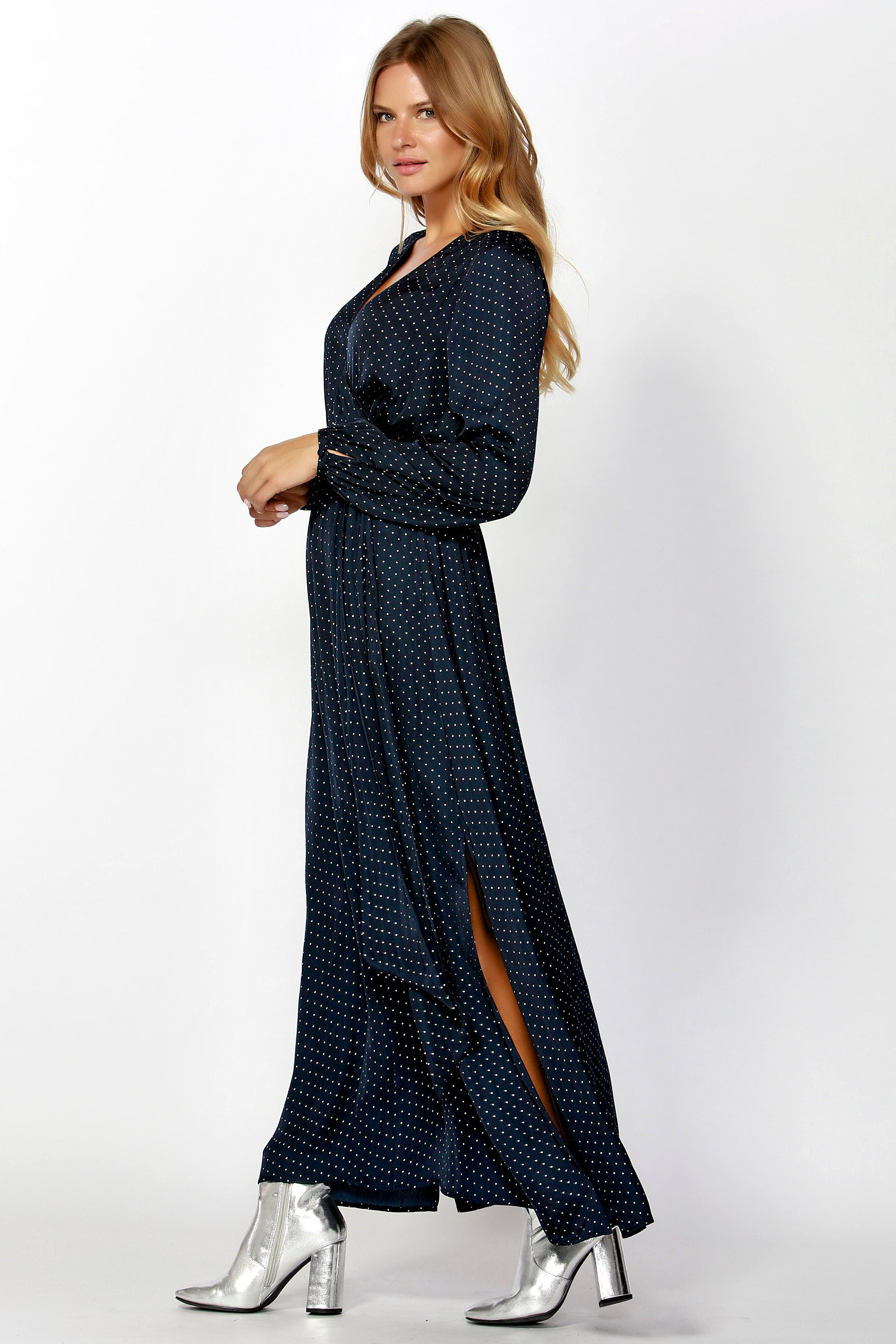 Sass Silver Dot Grecian Maxi Dress in Navy