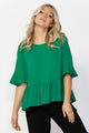 Sass Foxy Ruffle Hem Blouse in Jungle Green Size 8 and 14 ONLY