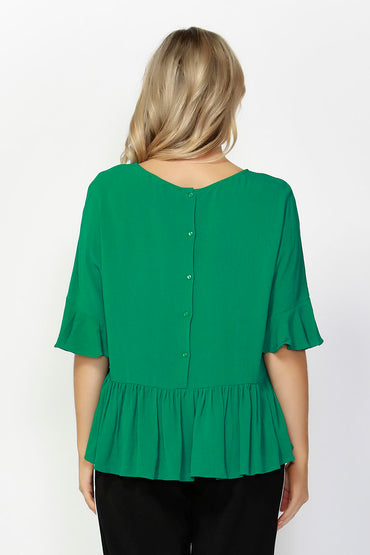 Sass Foxy Ruffle Hem Blouse in Jungle Green Size 8 ONLY