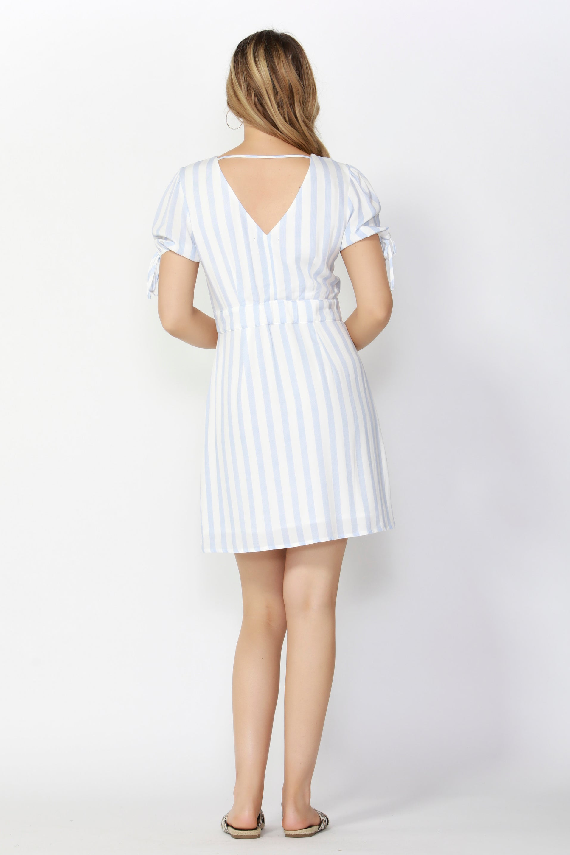 Sass Summertime Dress in White with Sky Blue Stripe