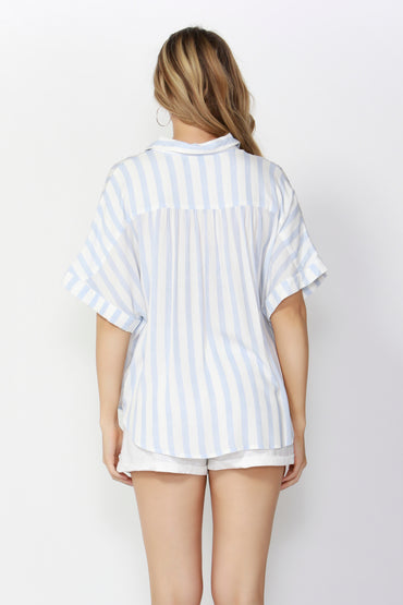Sass Summertime Oversized Shirt in White with Sky Blue Stripe