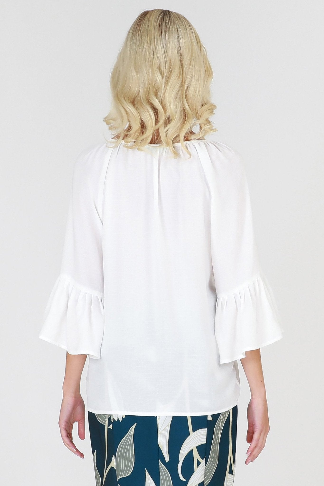 3RD Love Vivid White Lace Pleated Bell Sleeve Top in Ivory - Hey Sara