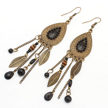 Hey Sara Antique Brushed Gold Beaded Drop Earrings with Black Trim