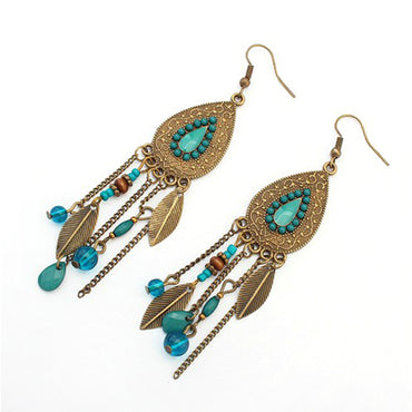 Hey Sara Antique Brushed Gold Beaded Drop Earrings with Green Trim