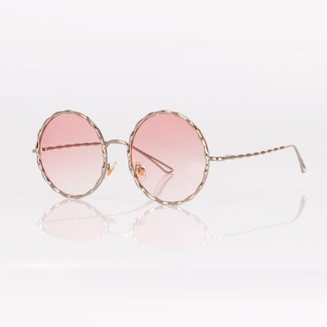 Angels Whisper Tinted Shape Round Sunglasses in Rose Gold