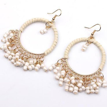 Boho Beaded Earrings - White/Beige
