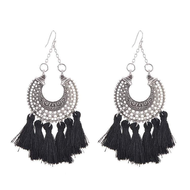 Hey Sara Boho Silver Carving Tassel Earrings with Black Tassel