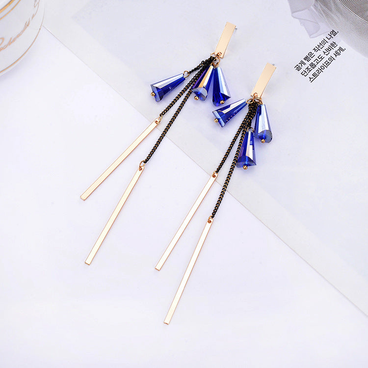 Drop Bar Chain Earrings - Royal Blue