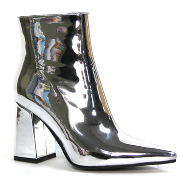 Therapy Alloy Mirror Metallic Ankle Boots in Silver Size 6 ONLY