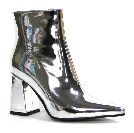Therapy Alloy Mirror Metallic Ankle Boots in Silver