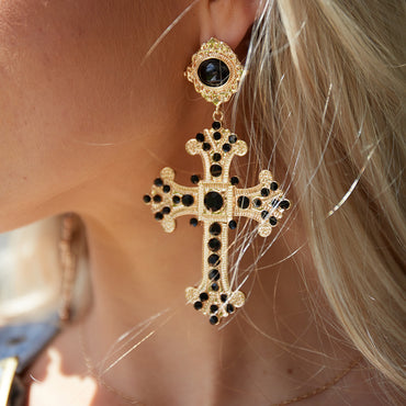 Angels Whisper Lexi Oversized Cross Earrings in Gold