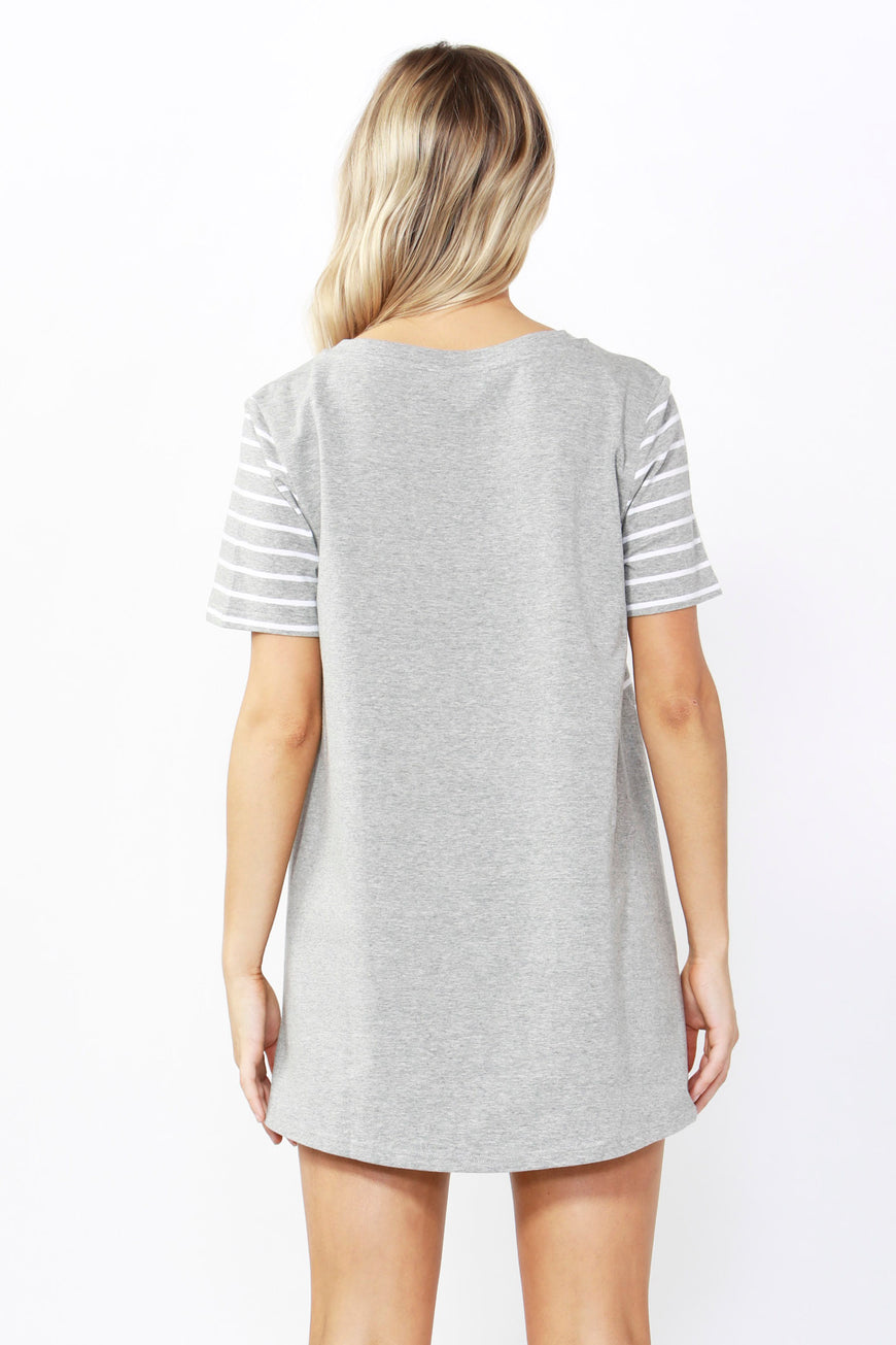 Betty Basics Hannah V-Neck Tee in Silver Stripe Sizes 8 or 10