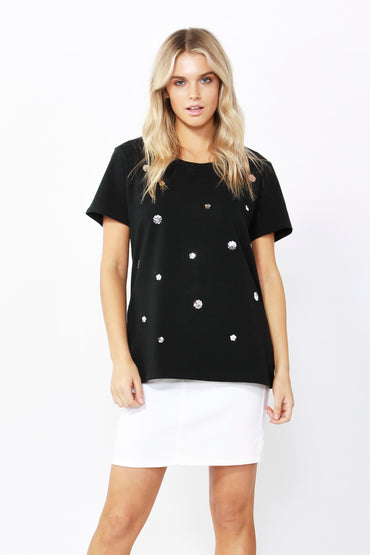 Betty Basics Sequin Cara Tee in Black