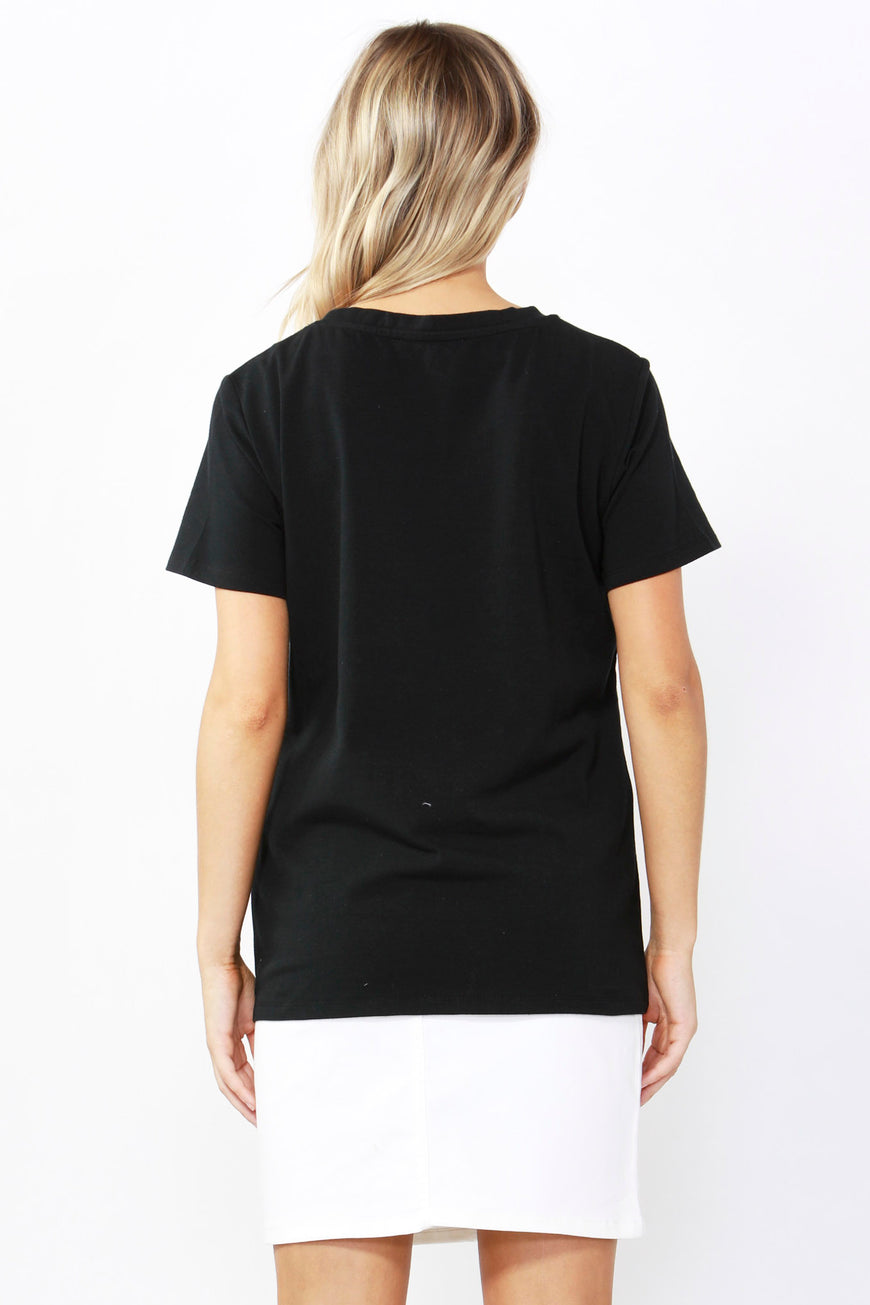 Betty Basics Sequin Cara Tee in Black Size 10 ONLY