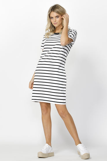 Betty Basics Gwen Tee Dress in White with Black Stripe