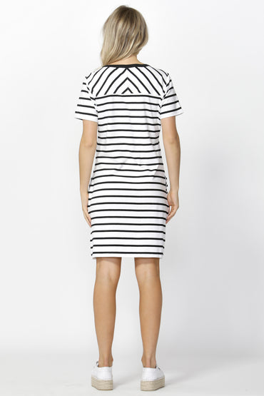 Betty Basics Gwen Tee Dress in White with Black Stripe Size 12 ONLY