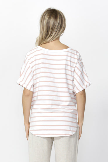 Betty Basics Katie Knot Top in White Blush Stripe