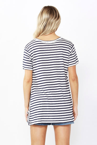 Betty Basics Phoenix Tee in White / Ink Stripe