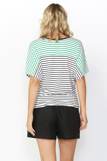 Betty Basics Maui Tee Update in White and Black Stripe