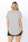 Betty Basics Adelaide Tee in Black White Stripe