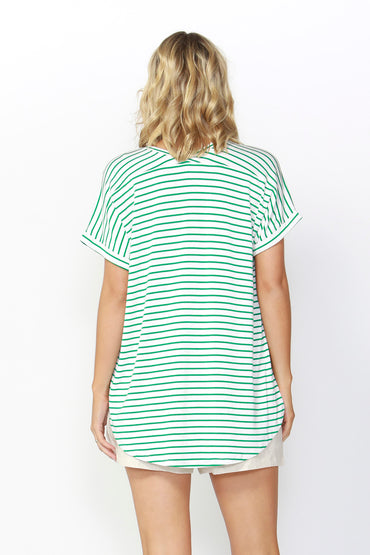 Betty Basics Adelaide Tee in White Emerald Stripe