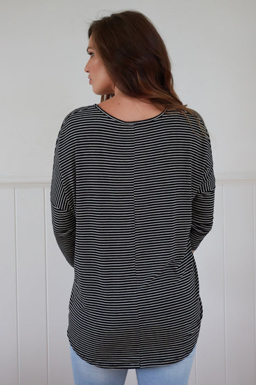 Betty Basics Milan Top in Black White Stripe