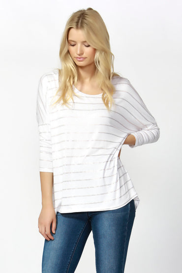 Betty Basics Milan Top in White and Gold Stripe