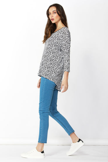 Betty Basics Milan Top in Snow Leopard LAST ONE Size 8